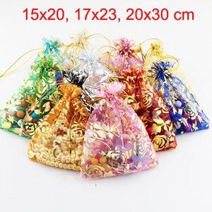 Image 1 - 100 pièces/lot 15x20, 17x23, 20x30 cm Rose fleur feuille grand Organza sac cordon pochettes pour mariage cadeau emballage sacs