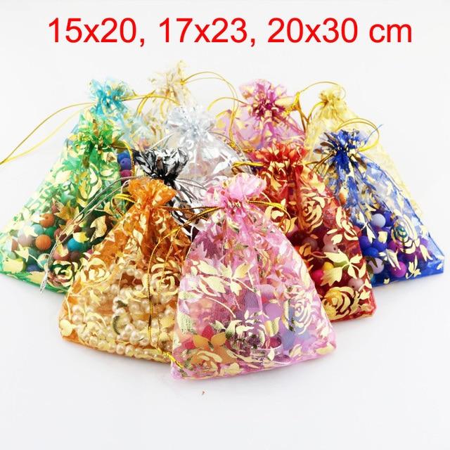 100 sztuk/partia 15x20,17x23,20x30 cm kwiat róży liść duży torba z organzy woreczki ze sznurkiem ściągającym na wesele torby do pakowania prezentów