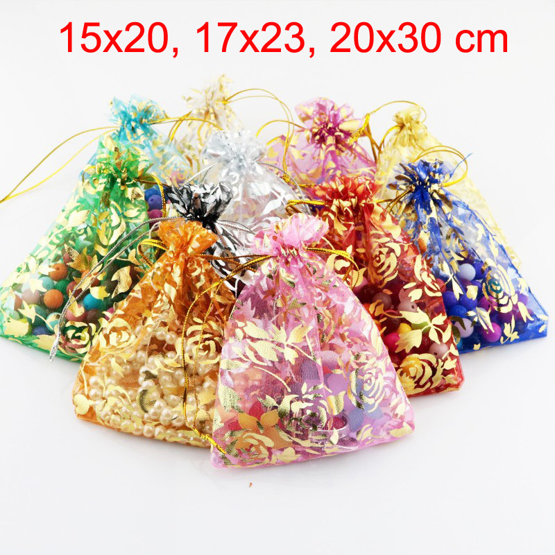 100pcs/lot 15x20, 17x23, 20x30 Cm Rose Flower Leaf Big Organza Bag Drawstring Pouches For Wedding Party Gift Packing Bags