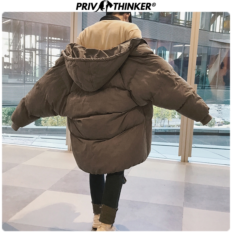 Privathinker 2019 Winter Hooded Print   Parka   Men Slim Korean Long Jacket Coat Mens Windbreaker   Parkas   Oversize Warm Youth Clothes