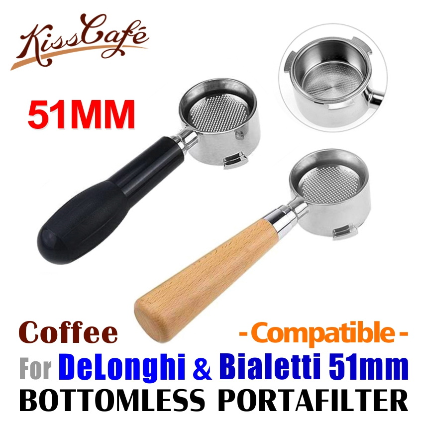 51mm Coffee Bottomless Portafilter For Delonghi EC680/EC685 Stainless Steel Replacement Filter Basket Espresso Machine Accessory