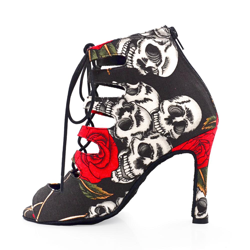 Evkoodance Professional Ballroom Dance Shoes Ladys Holloween Skull Salsa Dance Shoes  Suede 10cm Heeled  Women Latin Dance Boots