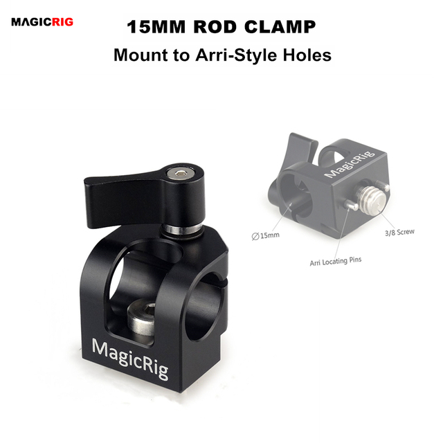 MAGICRIG Single Hole 15mm Rod Clamp with ARRI Accessory Mount for Camera Handle / Camera Cage / Cheese Plate