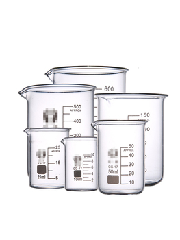5/10/25/50/100/150/200/250/300/400/500/600/800/1000mL Glass Beaker with Handle Chemical Lab Glassware Borosilicate Glass GG-17 image