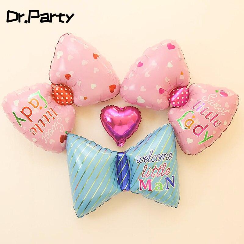 64cm dziecko z okazji urodzin muszka imprezowa krawat folia dekoracja z balonów płeć odsłonić różowy niebieski łuk węzeł zabawki dla dzieci noworodka JL0085