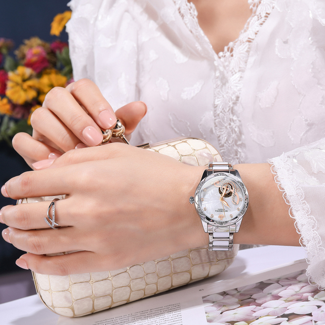 New Women's Watches 2021Diamond Luxury Design Ceramic Stainless Steel Strap Montre Femme Automatic Mechanical Relojes Para Mujer 5