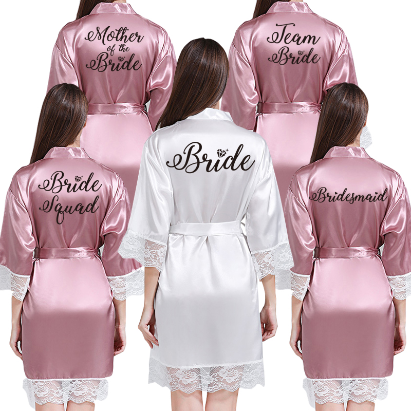 Lace Sexy Women Nightwear Robes Plus Size Wedding Kimono Satin Silk Female Bathrobes Bridemaids Robes Personalized Name