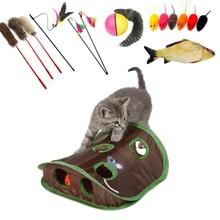 Игрушка-колокольчик для питомца кошки-мышки с 9 отверстиями для игры в туннель для кошек Складная Мышка для охоты