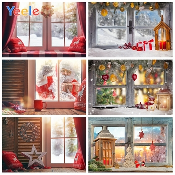 Yeele Photocall Christmas Backdrop Wreath Bay Window Snow Photography Backgrounds Custom Photographic Backdrops for Photo Studio mocsicka christmas winter snow night backdrops for photography christmas tree fence decor photographic studio photo backgrounds