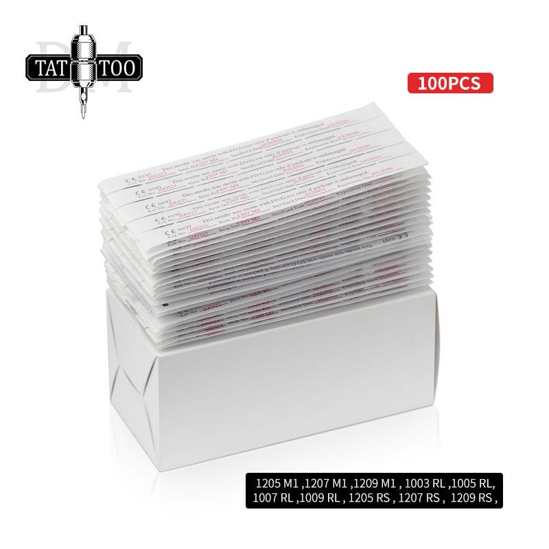 100pcs Mixed Disposable Tattoo Needles 3RL 5RL 7RL 9RL  5RS 7RS 9RS 5M1 7M1 9M1 Assorted Tattoo Needle