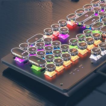 Gaming Mechanical Keyboard Punk Round Retro Keycap Backlit USB Wired Computer Peripherals 3