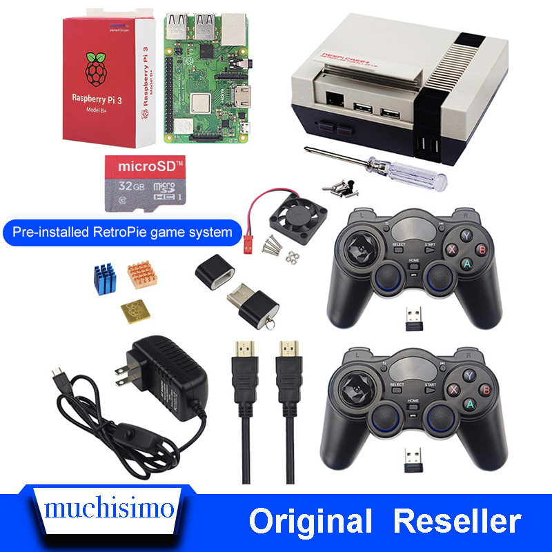 Raspberry Pi 3 B+(Plus)+NESPI CASE+(Plus)+Fan + Switch Power Supply +HDMI Cable + Heat Sink+ MicroSD32GB + Card Reader + Gamepad