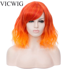 цена на VICWIG Short Cosplay Wigs for Women Orange Wavy Ombre Wig with Bangs Sky Blue Synthetic Hair
