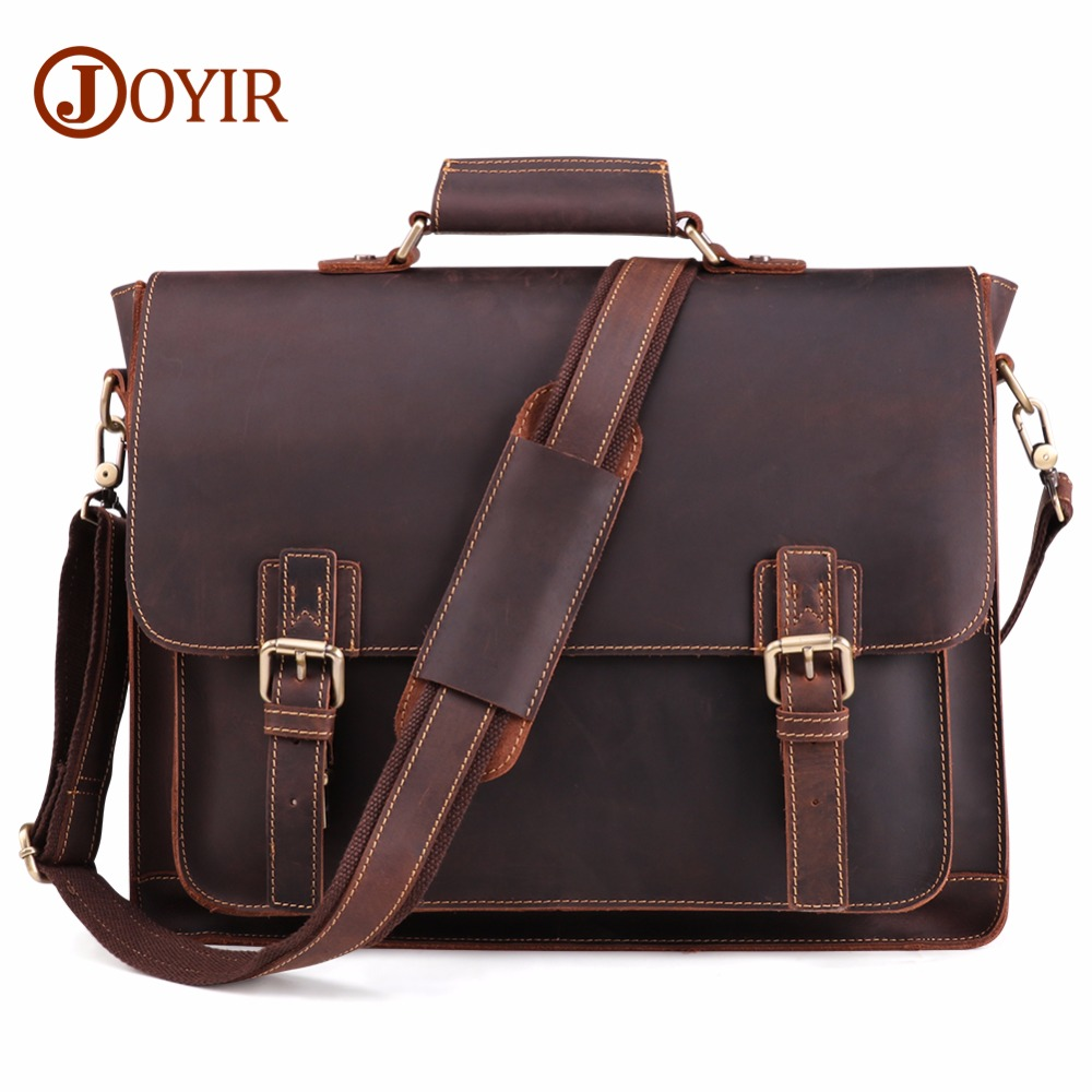 JOYIR 2020 Vintage Men's Genuine Leather Briefcase Crazy Horse Genuine Leather Messenger Male Laptop Bag Men Business Travel Bag