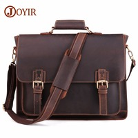 JOYIR 2020 Vintage Men's Genuine Leather Briefcase Crazy Horse Genuine Leather Messenger Male Laptop Bag Men Business Travel Bag