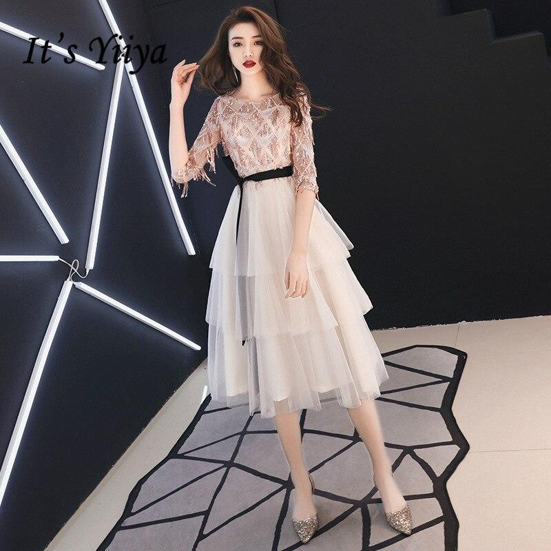It's Yiiya Prom Dress Champagne O-neck Sequins Tassel Half Sleeves Knee-length Plus Size Women Party Night Vestidos De Gala E434