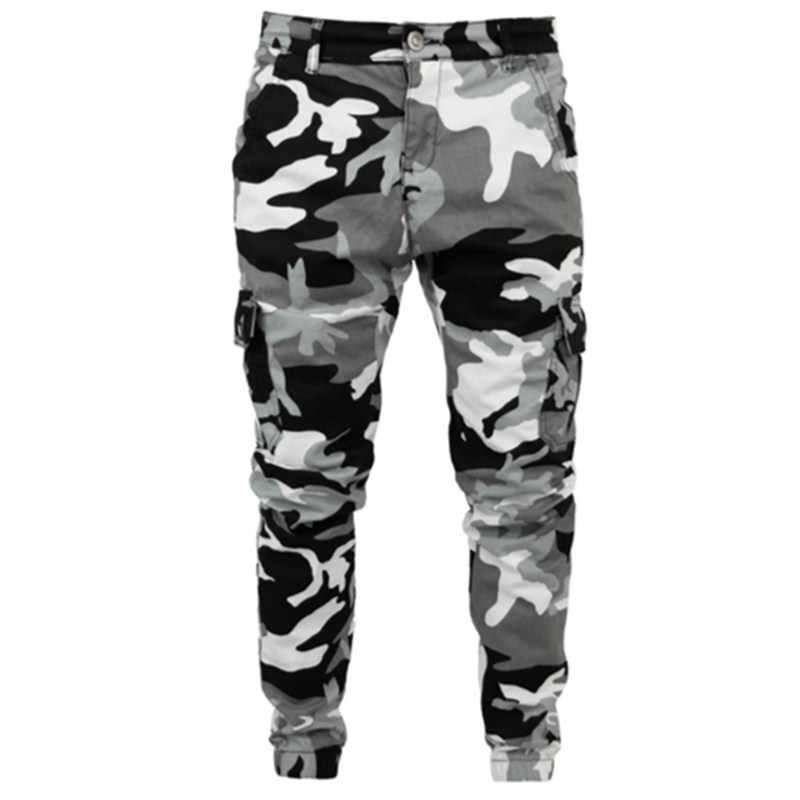Мужские обтягивающие Стрейчевые белые джинсовые штаны, камуфляжные плиссированные рваные зауженные джинсы, брюки 2019, популярные брюки-карго, джинсы, мужская одежда