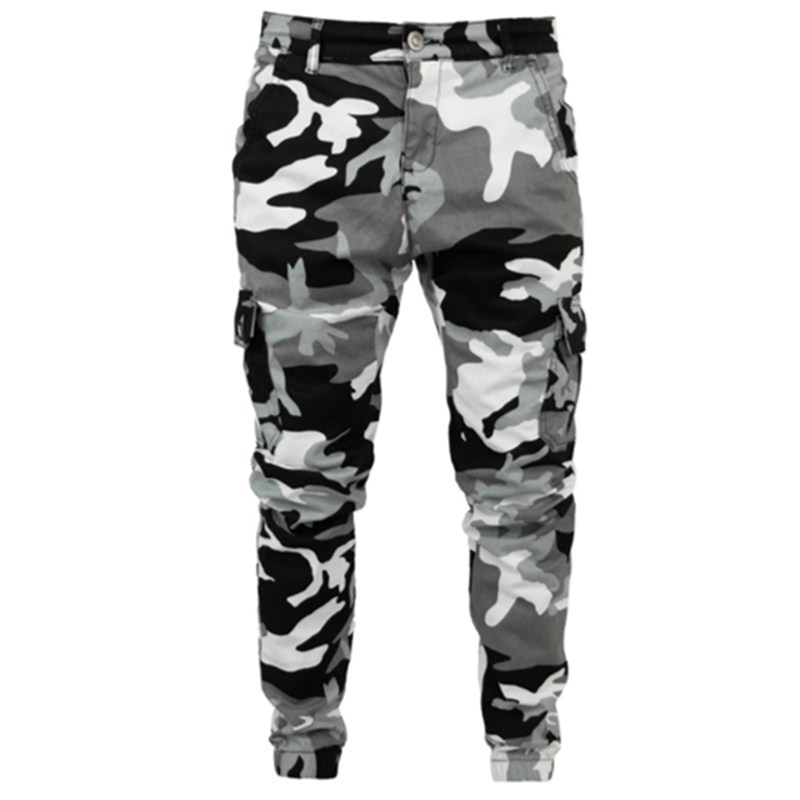 Mens Skinny Stretch White Denim Pants Camouflage Pleated Ripped Slim Fit Jeans Trousers 2019 Hot Cargo Pants Jeans Men Clothing