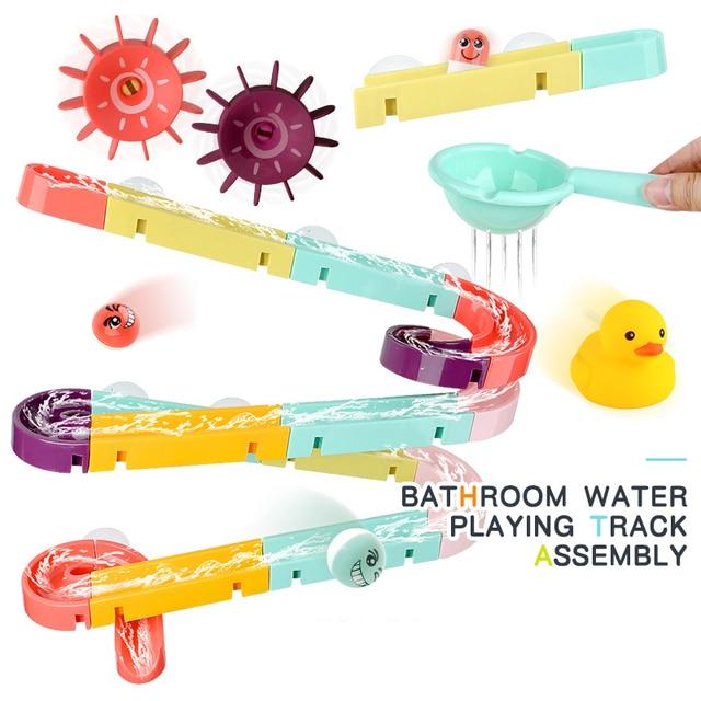 Enfant jeu deau marbre course course labyrinthe ventouse orbites salle de bain jouet bébé bain piste jouets pour enfant assemblage piste diapositives bloc