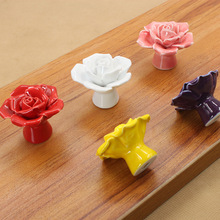 High Quality European Style Rural Ceramic Drawer Cabinet Cupboard Door Knob Furniture Handle