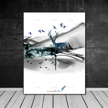 Nordic Picture decor poster art print deer Wall no frame canvas painting pictures