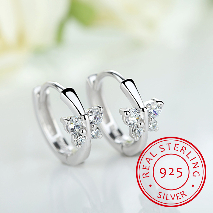 Baby Princess 925 Silver Butterfly Zirconia Small Hoop Earring For Girls Child Wome Beautiful Aros Huggies Earring Jewelry