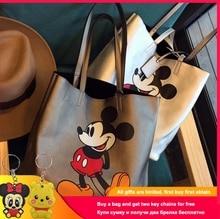 Disney 2019 Mickey Mouse Cartoon Large Capacity Handbags Shoulder Shopper Lady Handbag Women Shopping Leisure Fashion Satchel