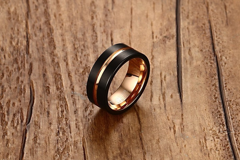 Fashion Mens Rings 8mm Black Brushed Tungsten Carbide Ring Rose Gold Inlay Groove Flat Cut Edge Men Wedding Band Jewelry anel masculino 16