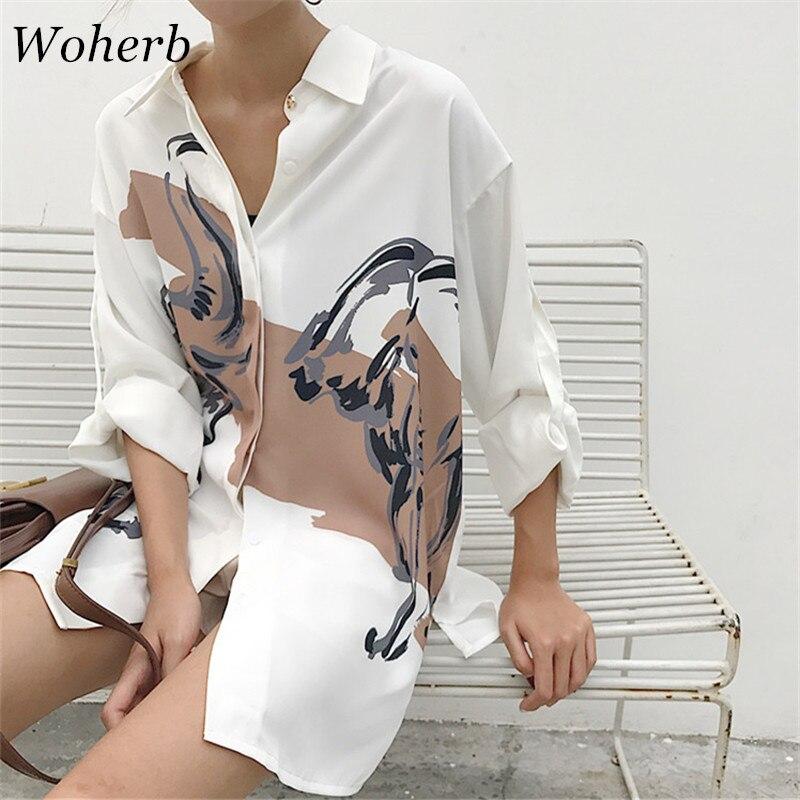 Woherb 2019 Oversized Shirt Printed Vintage Long Sleeve Blouse Women Fashion Streetwear Female Casual Loose Korean Blusas 74413