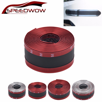 SPEEDWOW 2.5m Car Tuning Sticker Carbon Fiber Rubber Protector Front Rear Guard Bumper Strip Anti-collision Strip Car Styling image