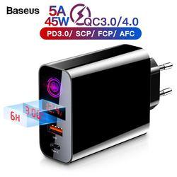 Baseus carga rápida 4,0 USB 3,0 cargador para iPhone 11 Pro Max Samsung Huawei teléfono móvil QC4.0 QC3.0 QC tipo C de cargador rápido