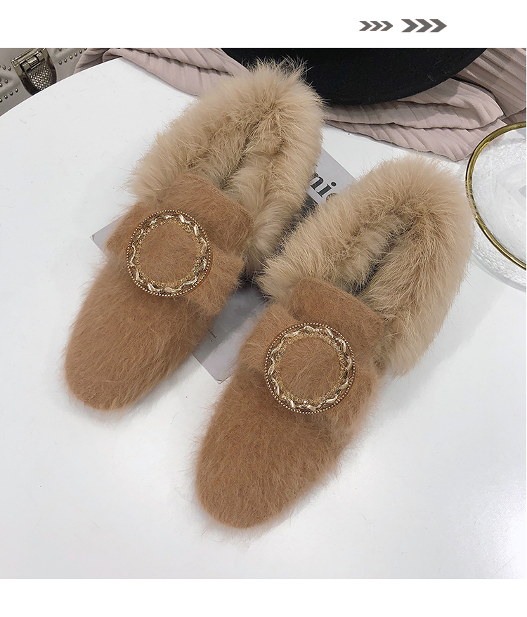 All-Match Shoes Woman 2019 Dress Flats Women Shallow Mouth Loafers Fur Modis Women's Moccasins Round Toe Casual Female Sneakers 51