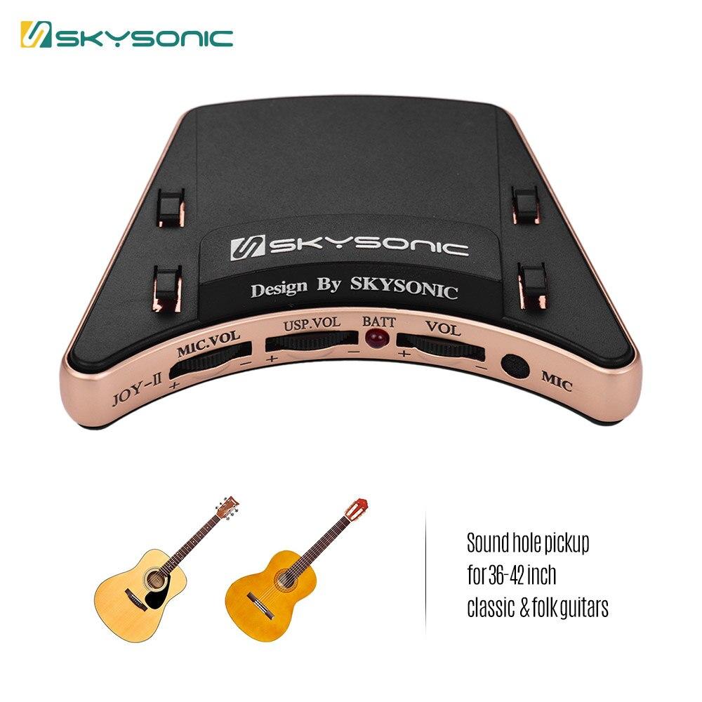 SKYSONIC JOY II micro guitare acoustique Soundhole Piezo + micro double Modes de ramassage avec commandes de Volume pour guitares 36 42 pouces