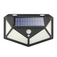 Luz Solar de 4 lados, lámpara de pared para exteriores con Sensor de movimiento 100/114 LED, ángulo de 3 modos de 120 grados, luz Solar alimentada a prueba de agua para jardín