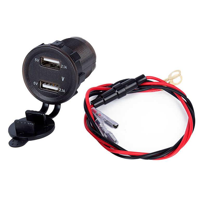Dual USB Charger Listrik Listrik 4.2A dengan Pengukur Tegangan Volt & Wire IN-LINE 10A Sekering untuk 12 -24V Mobil Perahu Motor