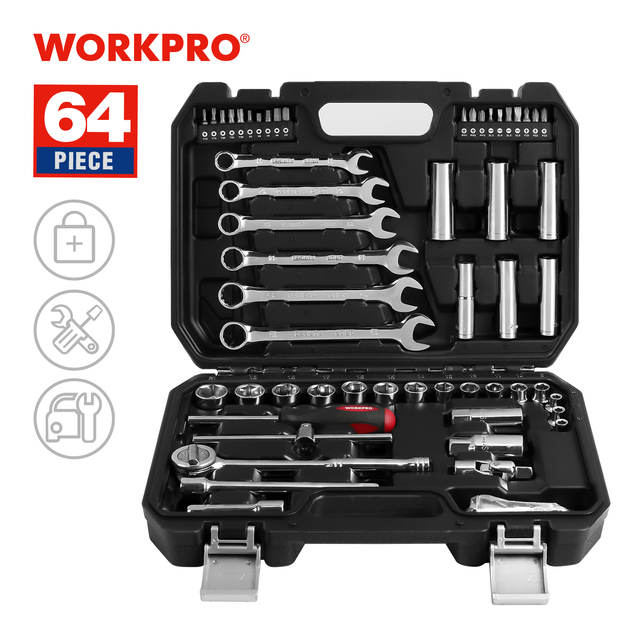 WORKPRO 64PC Mechanic Tool Set For Car Repair Ratchet Handle Wrench Socket Set Home Tool Kits 1