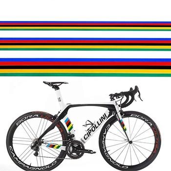 1Pc naklejka rowerowa odblaskowa tęcza naklejka dekoracyjna DIY MTB Bike zmodyfikowana naklejka rowerowa naklejka ramka tanie i dobre opinie Odblaskowe naklejki
