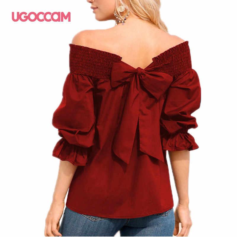 UGOCCAM 여성 티셔츠 오프 숄더 랜턴 슬리브 프릴 섹시한 여름 여성 셔츠 캐주얼 플러스 사이즈 탑스 blusas de mujer
