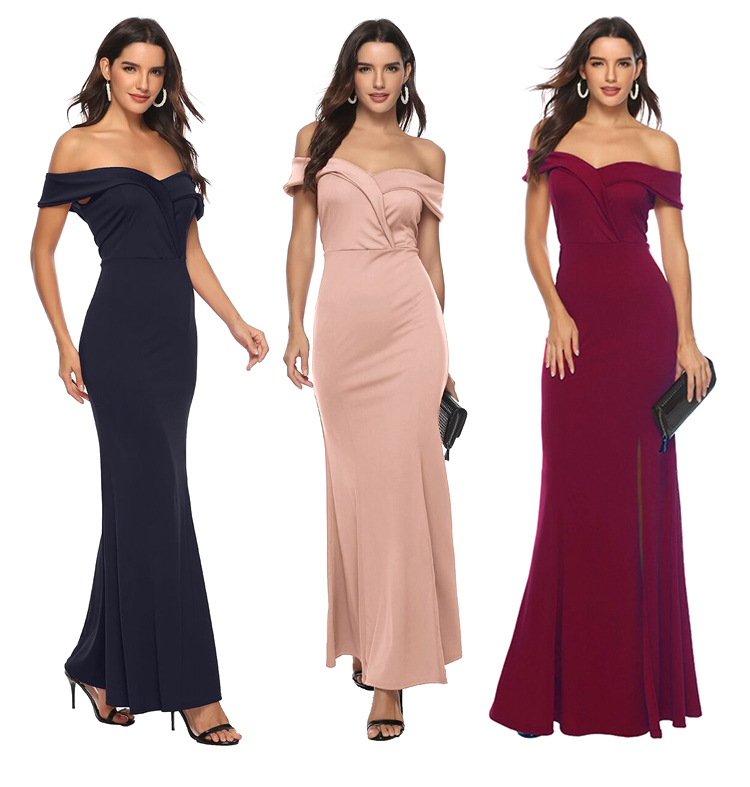Off The Shoulder Long Bridesmaid Dress Elegant Woman V-neck Floor-Length Long Prom Dress Guest Wedding Party Vestidos Mujer