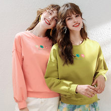 Woman Korean Pop Pink Hoody Spandex Long Sleeve SweatShirts Friend Cotton Champion Aesthetic Letter Hoodies Sweats Yellow Green(China)