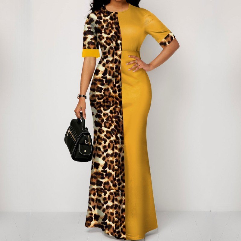 African Dress For Women 2020 Casual Plus Size Slim Patchwork Color Maxi Dresses Elegant Sexy Long Dress 5XL 4XL Africa Clothing
