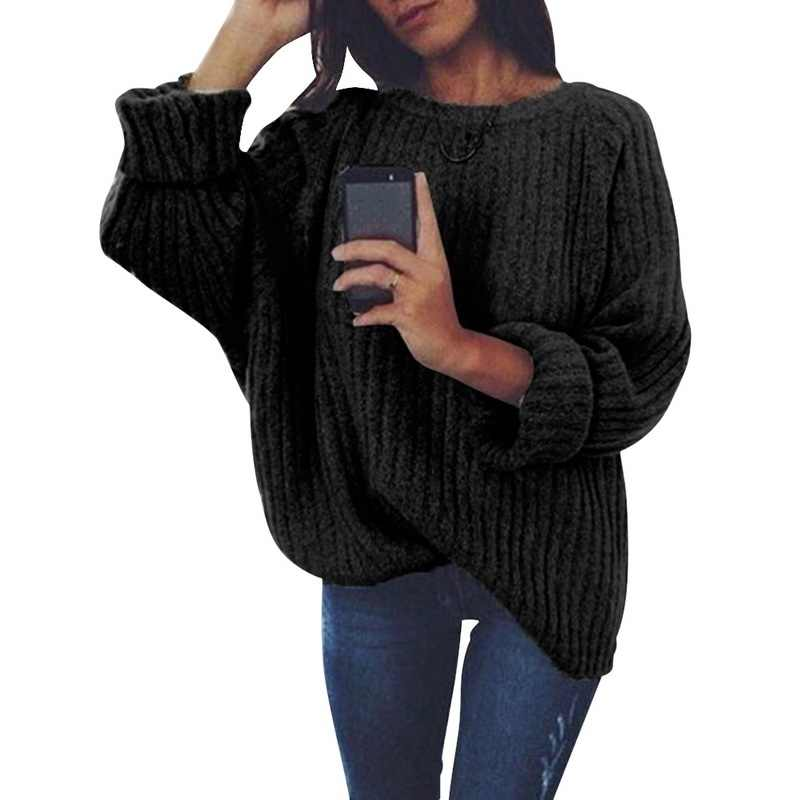 Oeak 2019 femmes solide O cou tricoté pull automne hiver mode femme pull chandails dames en vrac tricots livraison directe