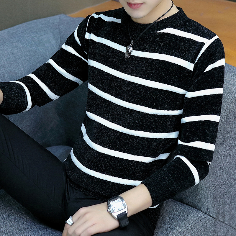 Sweater Yellow Pullover Knit Autumn Korean-Version Striped Men's Winter New Trend And