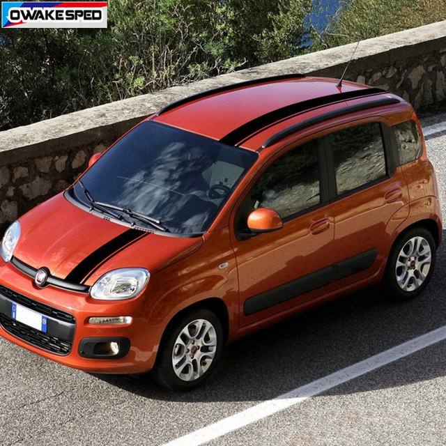 Car Hood Roof Tail Decor Stickers For-Fiat Panda Corss 4X4 OFF RAOD Stripes Exterior Auto Body Engine Cover Vinyl Decals 4