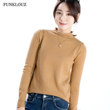 FUNKLOUZ Basic Spring Autumn Loose Sweater Pullovers Women Casual O-neck Long Sleeve Knit Thin Female Jumpers