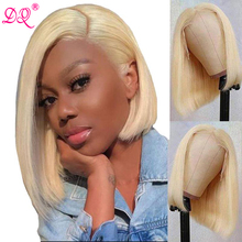 DQ Short Bob Wig Transparent Synthetic Lace Front Wig for Black Women Blonde Wig Heat Resistant Fiber Daily Cosplay Wig L Part