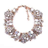 Large Collar Bib Big Chokers Necklaces Women Luxury Crystal Rhinestone Necklace Femme Indian Ethnic Wedding Statement Necklace