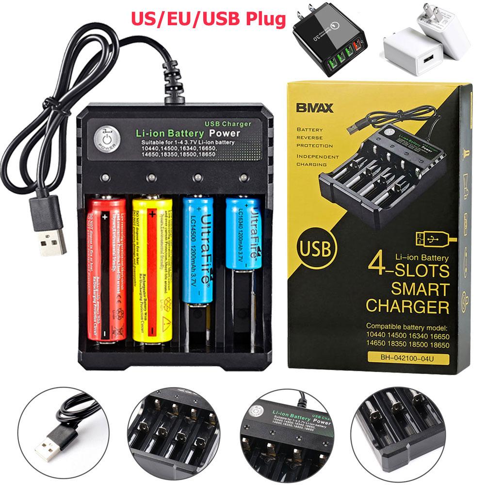 USB 18650 Батарея Зарядное устройство черные 4 слота AC 110V 220V двойной для 18650 QI Беспроводная зарядка Перезаряжаемые литий Батарея Зарядное устрой...