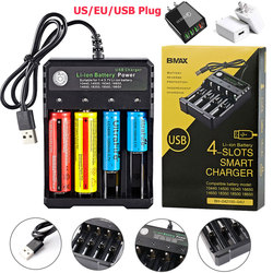 USB 18650 Battery Charger Black 4 Slots AC 110V 220V Dual For 18650 Charging Rechargeable Lithium Battery Charger