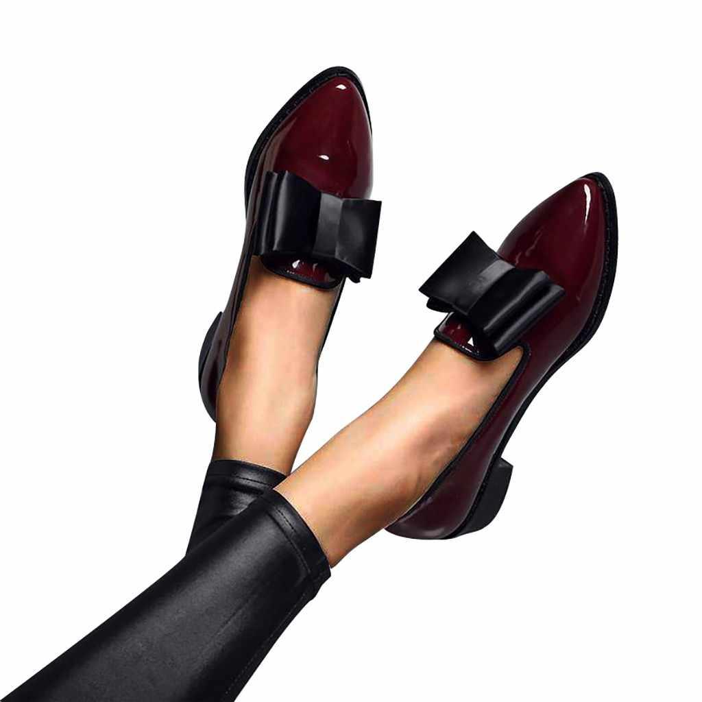SAGACE sonbahar Flats kadın ayakkabı papyon loafer'lar Patent deri kadın düşük topuklu ayakkabı üzerinde kayma kadın sivri burun kalın topuk